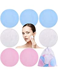 18 Packung 3 Schichten Bambus Makeup Entferner Pads mit Wäschebeutel, Waschbar und Wiederverwendbare Weiche Gesichts Pads, Makeup Entferner Tuch Pads für Hautpflege, 3 Farben