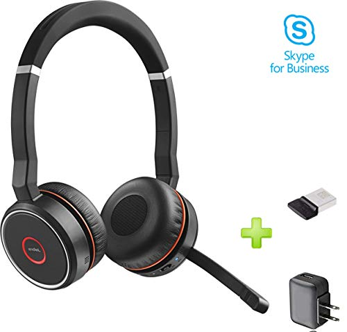 Jabra Evolve 75 Bluetooth Headset Bundle w/Bonus chargeur mural, dongle USB  7599-832-109-b | PC/Mac Compatible avec UC, téléphonie, smartphones,
