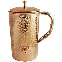 Zap Impex Pure amartillado de cobre jarra con tapa para la salud beneficios Cobre Agua Jarra 1600ml
