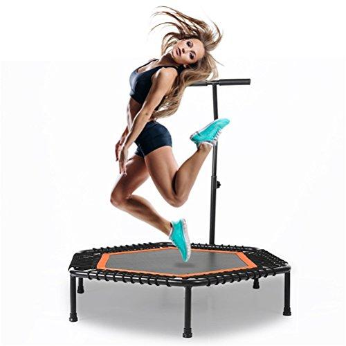 """YIOY 40"""" Übung Mini-Fitness-Trampolin mit Verstellbarem Handlauf, Indoor-Fitness Rebounder Deckel und Klappbeine"""
