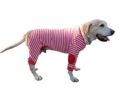 BT Bear Hundepyjama für große Hunde, flexibel, atmungsaktiv, Reißverschluss, weiche Baumwolle, gestreift, für mittelgroße Hunde und große Hunde