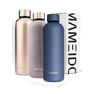 MAMEIDO Trinkflasche Edelstahl – 500ml 750ml Thermosflasche – auslaufsicher, BPA frei – isolierte Wasserflasche, doppelwandige Isolierflasche, schlanke leichte Thermoskanne