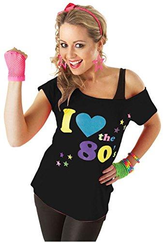 Damen I Love The 80er T-Shirt Damen Retro Top Kostüm Outfit Partykleidung - Schwarz, L 40-42