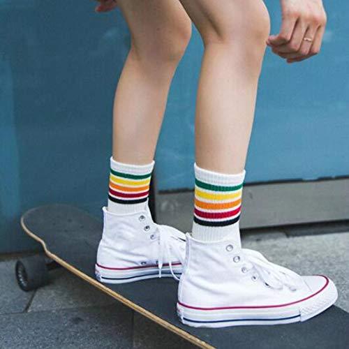 Sen-Sen Atmungsaktives Design Mädchen im Teenageralter Rainbow Stripe Middle Socks Cotton Socks weiß