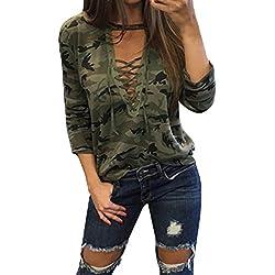 StyleDome Camuflaje Camiseta Mangas Largas Mujer Blusa Cuello Pico Elegante Deportiva Oficina Verde Militar EU 42