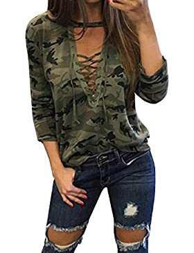 StyleDome Camiseta Camuflaje Mujer Blusa Cuello Pico Elegante Deportiva Oficina