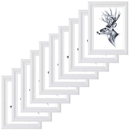 10er Set Bilderrahmen 10x15cm Artos Stil Holz Rahmen Fotogalerie Glasscheibe Weiß