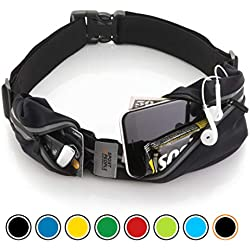 Sport2People Running Belt - Cinturon de running iPhone 6, 7 Plus para corredores - Mejor equipo de running para ejercicios de manos libres - cinturon para correr con dos bolsillos