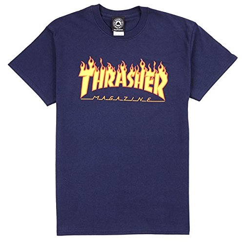 Thrasher - THRASHER T-SHIRT FLAME NAVY - L