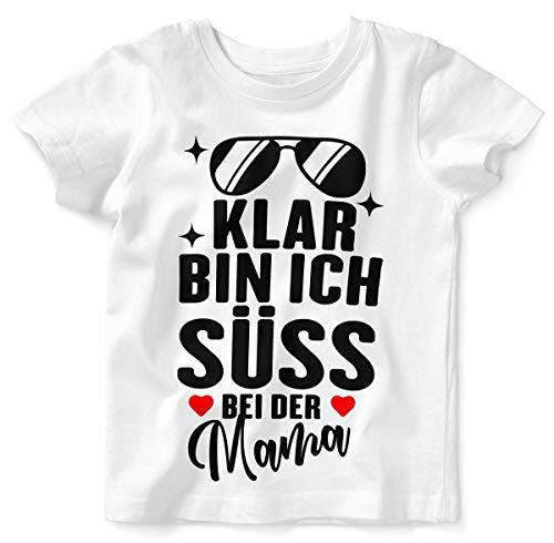 Mikalino Baby/Kinder T-Shirt mit Spruch für Jungen Mädchen Unisex Kurzarm Klar Bin ich süß - bei der Mama | handbedruckt in Deutschland | Handmade with Love, Farbe:Weiss, Grösse:80/86 (Süße Baby Shirts Für Jungen)