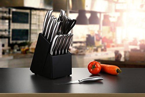 Cuchillos cocina Deik  set cuchillos  juego cuchillos de acero inoxidable con soporte de madera negra. Incluye cuchillo cocinero  cuchillo de carne  cuchillo de pan  cuchillo de frutas  cuchillo de ve