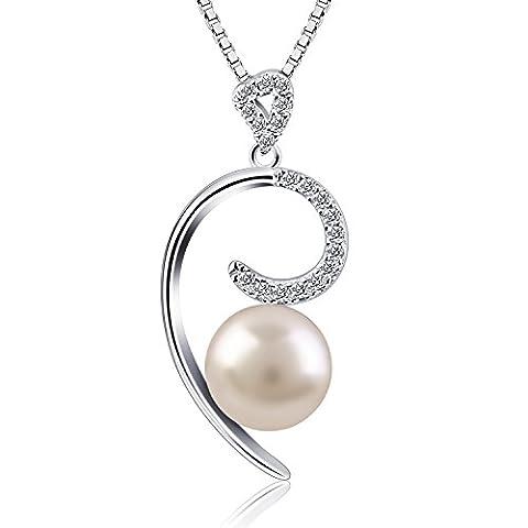 B.Catcher Kette Damen Perle Halskette Anhänger 925 Silber Hälfte Herz Süßwasser Zuchtperle 5A Zirkonia 45CM Kettenlänge Geschenk Box