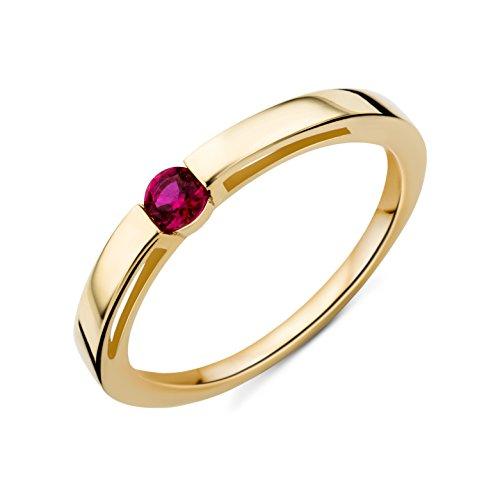 Miore Ring Damen Gelbgold 9 Karat / 375 Gold Solitär  Rubin