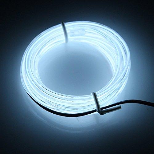 Possbay 1m 2m 3m 4m 5m EL Draht Neon Lights Glow Leuchtmittel Elektrolumineszenz-Folie mit Controller für Car Home Party Kostüm Dekoration, weiß, 5 ()