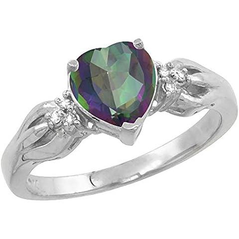 Revoni Mujer  14 k (585)  oro blanco 14 quilates (585) redondo talla ovalada   GH multicolor topacio diamante