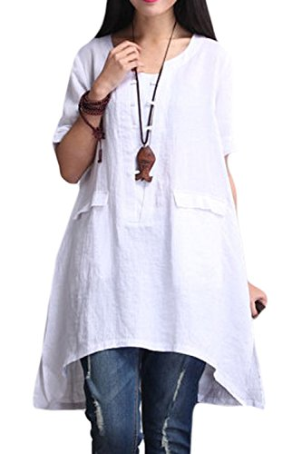 yulinge Women Plus Size Tops Summer Cotton Blouses with Pockets