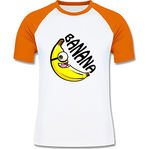 Shirtracer Comic Shirts - Banana Gelb Einäugig - Herren Baseball Shirt Weiß/Orange