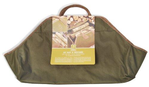 Esschert Design Kaminholztasche, Brennholztasche in dunkelgrün, ca. 90 cm x 44 cm x 2 cm