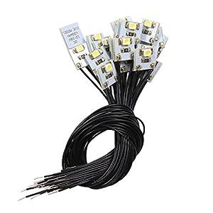 Evemodel 20 Stk. LED Hausbeleuchtung 10x10mm weiss mit Kabel 20cm 12-18 V