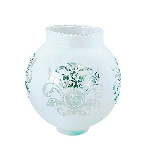 Geätzt Gekrönter Milchglas Glas Globus Lampenschirm. Höhe: 14cm, Breite: 13.5cm, Kreisumfang: 42cm, kleines Loch: 4.5cm (Eingraviert, Kugel, Kreis, Licht, Kugelförmig) (Milchglas Lampenschirm)