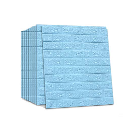 Weiße Wandplatten des Ziegelstein-3D schälen und haften Tapete für Wohnzimmer-Schlafzimmer-Hintergrund-Wand-Dekoration 10 Satz (Farbe : Blau) -