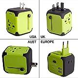 Travel Adapter Adattatore Universale da Viaggio con 2 USB 3.0 (US/EU/UK/AU) Caricatore Multifunzioni per Oltre 150 Paesi Internazionale -(Verde)