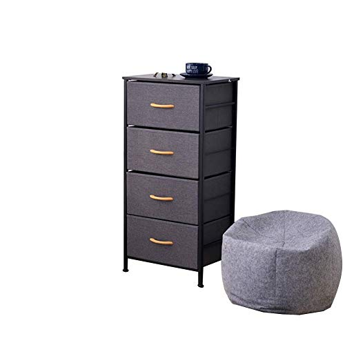 Dark-metal-finish (HYLH Side Tables,Tables Wrought Iron Drawer Type Cabinet Living Room Combination Storage Bedroom Bedside Table (Color : Dark Gray, Size : 45 * 30 * 92.5cm))