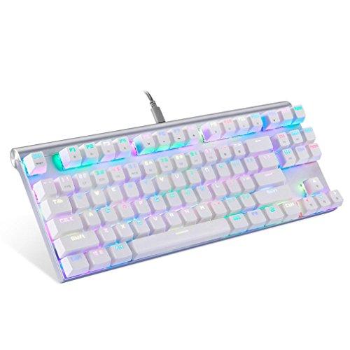 Prevently Mechanische Gaming Tastatur Gaming Tastatur Leopard CK101 Vollfarb-RGB87 USB verdrahtete NKRO RGB hintergrundbeleuchtete Mechanische Gaming-Tastatur Tastenbeleuchtung (Weiß) (Logitech Maus Blau Schnurlose)