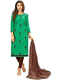 Women'S Sea Green Semi Stitched Embroidered Jacquard Dress Material