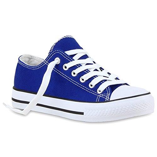 Damen Sneakers Sport Sneaker Low Denim Stoff Blumen Camouflage Schuhe 118959 Blau Agueda 37 Flandell