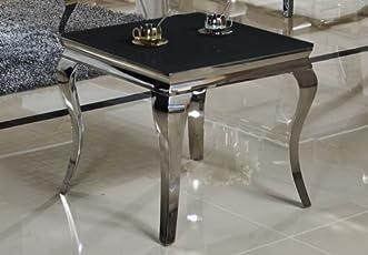 Beistelltisch 60 x 60 x 50 Ina Nachttisch schwarz designer luxus Tisch Büro Edelstahl Glas Barock Chrom schwarzglas