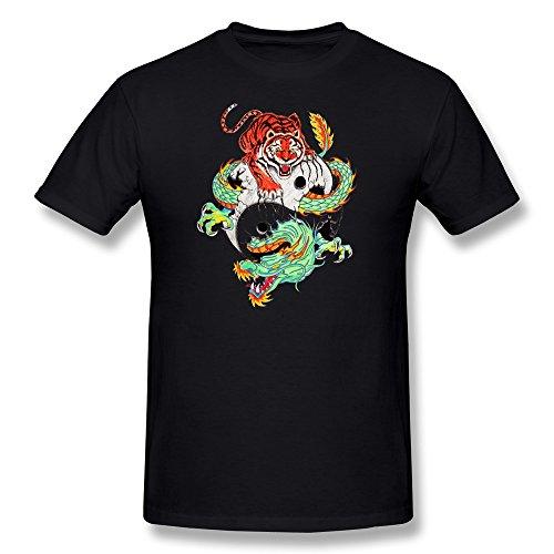 annelano Herren Drache und Tiger Tattoo T-Shirts schwarz Medium schwarz (Tshirt Heißes Thema)