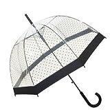Ladylike: Transparenter / Durchsichtiger Regenschirm Automatik mit schwarzen Punkten