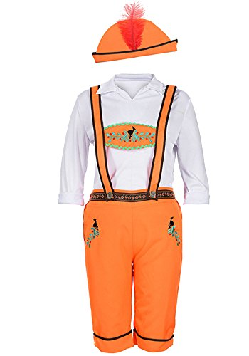 XFentech Frauen Herren Paar Outfit Set Halloween Oktoberfest Parteien Cosplay Kostüm, Orange-Herren/M