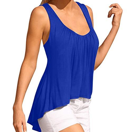 SHE.White Damen Tops Sommer Ärmellos T-Shirt Blusen Locker Oberteile für Frauen Einfarbig Tank Crop Sexy Flowy Rundhals Beiläufig Tunika Blumen Asymmetrisch S-3XL (Verkauf Mittelalterliche Kleider Für)