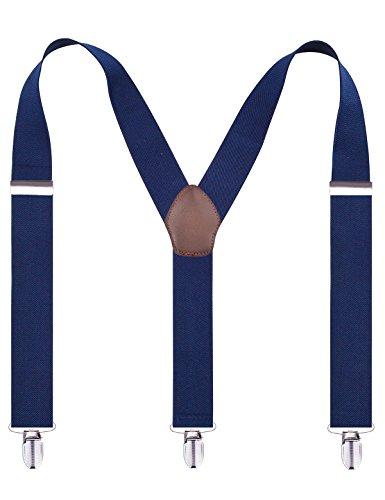 enjoymore style britannique rétro pour homme 3,5cm solide couleur bretelles avec 3clips Bleu Marine