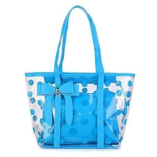 ABLE Women's Clear Tote Bags Multi-Use Shoulder Handbag Beach Shopping Bag (1-blue)