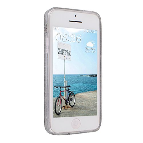 iPhone SE Hülle, Asnlove Premium TPU Silikon Bling Glitzer Schutzhülle für iPhone SE / 5S / 5 Handyhülle Schale Etui Protective Case Cover Design Golden Green