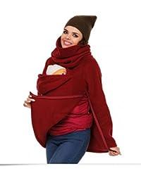 Maternité Femme Polaire Sweat à capuche Dos avant de transport support pour maman bébé kangourou Pull Manteau pour usage domestique de voyage, Red, Taille M