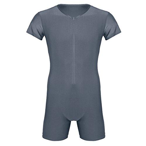 Agoky Herren Body Bodysuit Einteiler Kurz mit Reissverschluss Overall Slim Fit Männerbody Kurzarm Unterhemd Boxershorts Unterwäsche M-XXL Grau XXL(Brust 98cm)