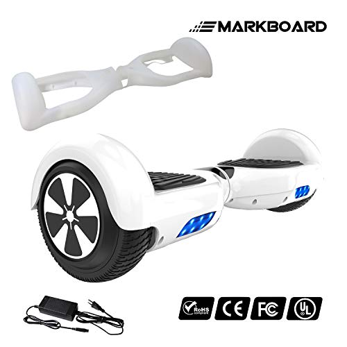 MARKBOARD 6,5zoll Hover Board Elektro Scooter Selfbalance Scooter für Kinder, 350W*2 Motor (6,5weiß)