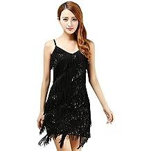 BellyQueen Vestido Salsa Mujer para Baile Latino Clásica Tango con  Lentejuelas y Flecos - Talla Única fe875eed442