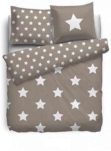 F2F Bettwäsche Stars Sternenbettwäsche - 155x220 - Natur / Beige Sterne Baumwolle (Für Mädchen Leopard-druck-bettwäsche)