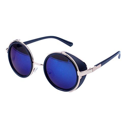 WooCo Reise Sonnenbrillen für Herren Damen, Runde Mode Vintage Retro Brille, Förderung Unisex Aviator Spiegel Objektiv Sonnenbrille(G,One size)