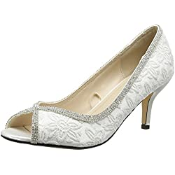 Quiz Damen Diamante Lace Peep Toe Court Pumps, White (White), 39 EU