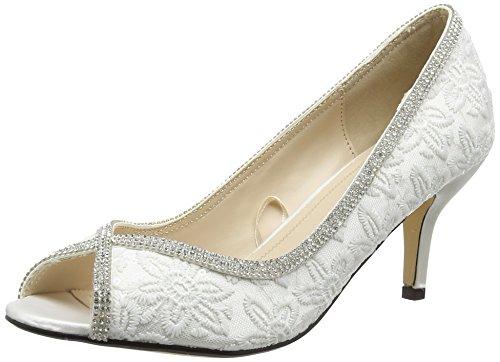 Quiz Diamante Lace Peep Toe Court, Damen Peep-Toe Pumps, White (White), 36 EU (3 UK)