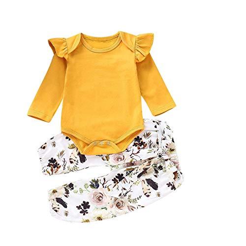 Sfuzwg Säuglingsbabykleidung stellt 3pcs Ausstattungs-Spielanzug-Hosen-Stirnband-Herbst-Winter-Blumenbodysuits EIN -