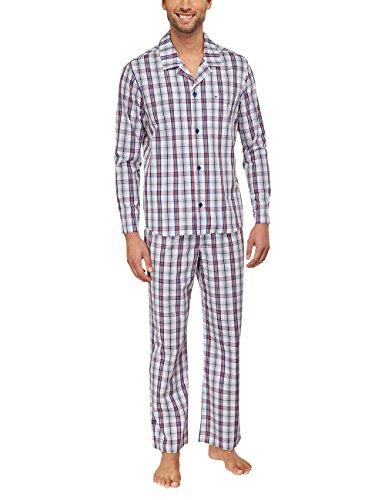 Seidensticker Herren Zweiteiliger Schlafanzug Pyjama Lang, Gr. Large (Herstellergröße: 52), Rot (rot 500)