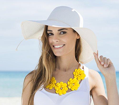 MBW Statement-Halskette XXL Blumen in der Farbe gelb Modeschmuck Collier Trend-Schmuck
