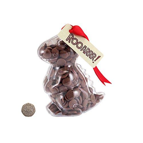 "Image of Dinosaur - ""Rooarrr!"" Milk Chocolate Buttons T-Rex Dinosaur. From the Belgian Milk Chocolate 'ButtonChocs' range."